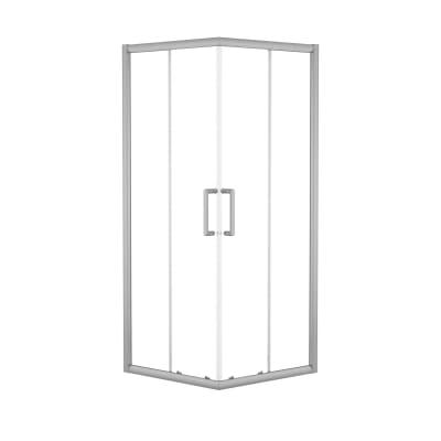 Box doccia scorrevole Quad 67.5-69 x 67,5-69, H 190 cm cristallo 6 mm trasparente/silver