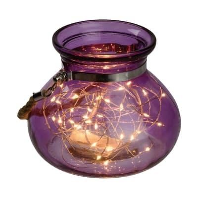 Vaso viola in vetro 40 minilucciole Led classica gialla H 12,5 cm