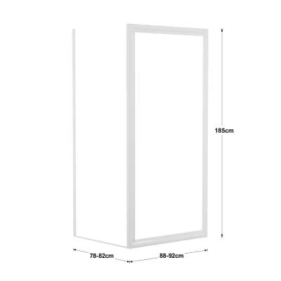 Doccia con porta battente e lato fisso Elba 88 - 92 x 78 - 82 cm, H 185 cm cristallo 3 mm piumato/bianco lucido