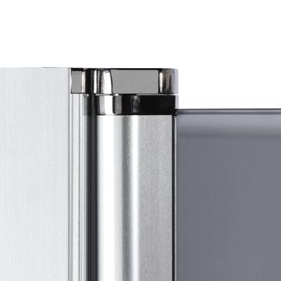 Doccia con porta battente e lato fisso Neo 91 - 93 x 77 - 79 cm, H 200 cm vetro temperato 6 mm fumè/silver