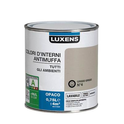 Idropittura lavabile Antimuffa Grigio Grigio 4 - 0,75 L Luxens