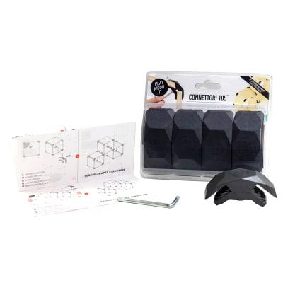 Connettore Playwood 105° per pannelli in legno in plastica hi-tech nero confezione 4 pezzi