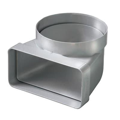 Raccordo piatto/tondo Curva verticale ABS da  Ø 100 rettangolare steel L 6 - 12 cm
