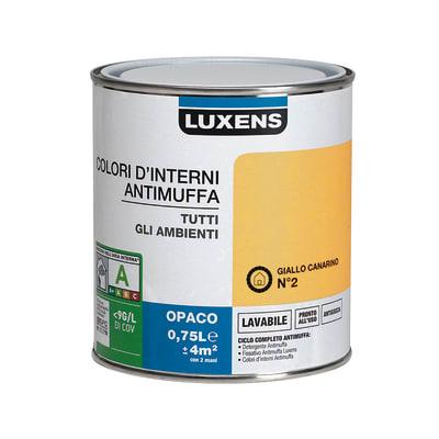Idropittura lavabile Antimuffa Giallo Canarino 2 - 0,75 L Luxens