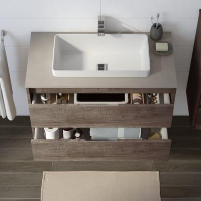 Mobile bagno Loto rovere scuro L 90 cm