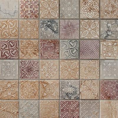 Mosaico Badges 30 x 30 cm rosa, bianco, grigio