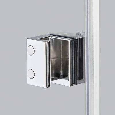 Doccia con porta battente e lato fisso Neo 79 - 81 x 77 - 79 cm, H 200 cm vetro temperato 6 mm fumè/silver