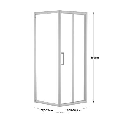 Doccia con porta pieghevole e lato fisso Quad 87.5 - 90,5 x 77.5 - 79 cm, H 190 cm cristallo 6 mm trasparente/silver