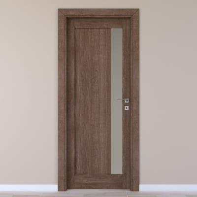 Porta da interno battente Gash tabacco 80 x H 210 cm sx