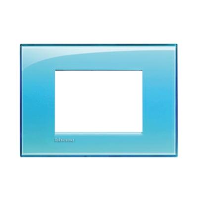 Placca 3 moduli BTicino Livinglight azzurro