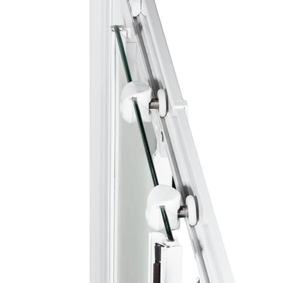 Doccia con porta battente e lato fisso Nerea 77 - 80 x 77.5 - 79 cm, H 185 cm cristallo 4 mm serigrafato/bianco lucido