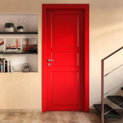 Porta da interno scorrevole New York rosso 90 x H 210 cm reversibile