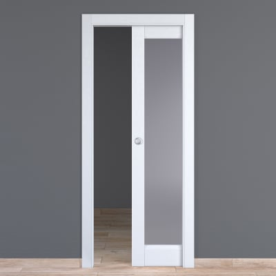 Porta da interno scorrevole Bellatrix bianco 80 x H 210 cm reversibile