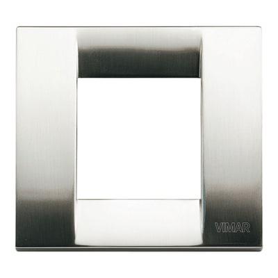 Placca 2 moduli Vimar Idea nichel spazzolato