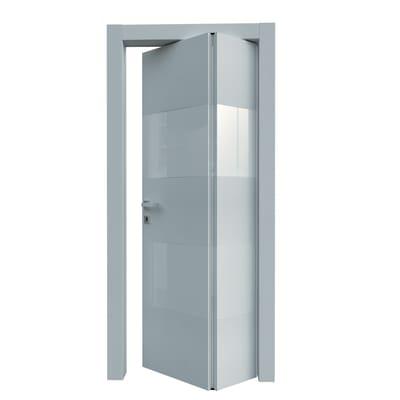 Porta da interno pieghevole asimmetrica Melangè bianco 80 x H 210 cm dx