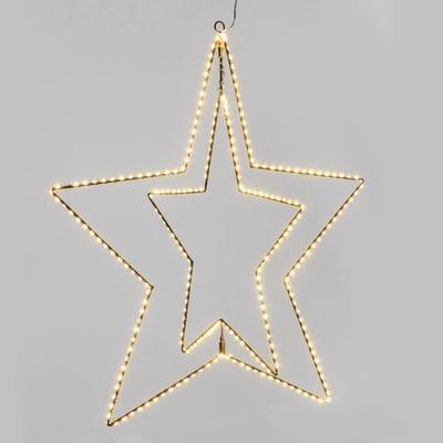 Decorazione luminosa doppia stella 260 minilucciole Led classica gialla 1 m