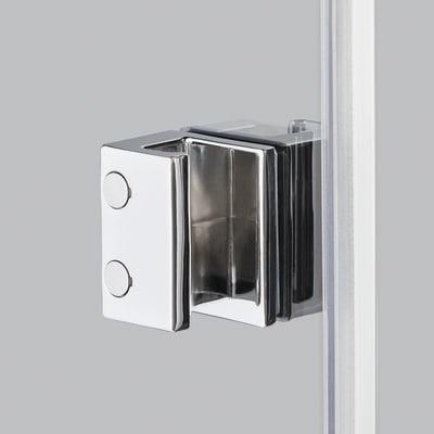 Doccia con porta saloon e lato fisso Neo 72 - 76 x 77 - 79 cm, H 200 cm vetro temperato 6 mm trasparente/cromo PVD
