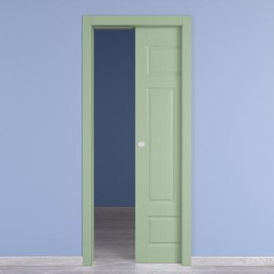 Porta da interno scorrevole Coconut Groove verde 90 x H 210 cm reversibile