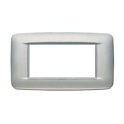 Placca 4 moduli Vimar Eikon  Round argento matt