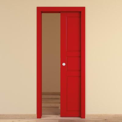 Porta da interno scorrevole New York rosso 80 x H 210 cm reversibile